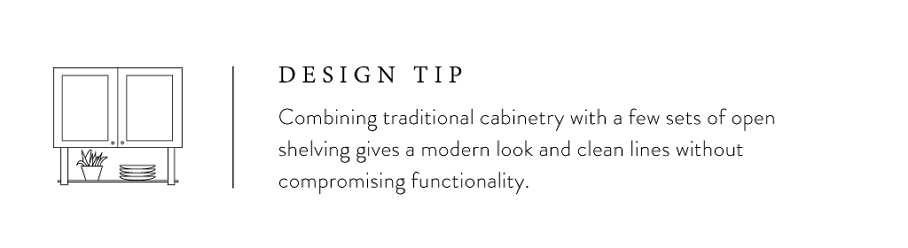 Design tip from Joanna Gaines about kitchen cabinetry